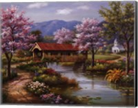 Framed Covered Bridge in Spring