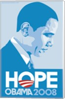 Framed Barack Obama - (Profile, Blue) Campaign Poster