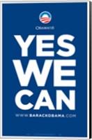 Framed Barack Obama - (Yes We Can - Blue) Campaign Poster