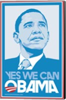 Framed Barack Obama, (Blue, Yes We Can) Campaign Poster