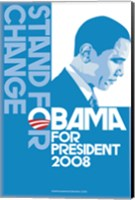 Framed Barack Obama, (Stand for Change, Blue) Campaign Poster