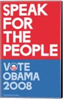 Framed Barack Obama - (Speak for People-red) Campaign Poster