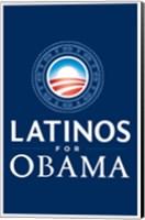 Framed Barack Obama - (Latinos for Obama) Campaign Poster