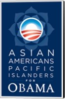 Framed Barack Obama - (Asian Americans for Obama) Campaign Poster