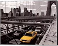 Framed Yellow Cab on Brooklyn Bridge