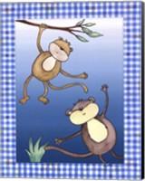 Framed Two by Two Blue - Monkeys
