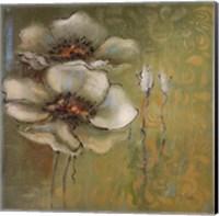 Framed Green Flowers I