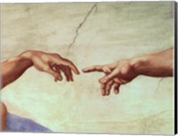Framed Hands of God and Adam, detail from The Creation of Adam, from the Sistine Ceiling, 1511