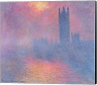 Framed Houses of Parliament, London, with the sun breaking through the fog, 1904