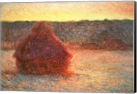 Framed Haystacks at Sunset, Frosty Weather, 1891