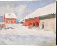 Framed Norway, Red Houses at Bjornegaard, 1895