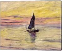 Framed Sailing Boat, Evening Effect, 1885