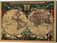 Framed World Map 1664