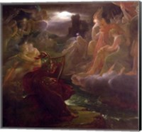 Framed Ossian Conjuring up the Spirits on the Banks of the River Lora with the Sound of his Harp, 1801
