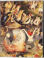 Framed Garden of Earthly Delights: Allegory of Luxury, people with birds detail