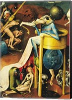 Framed Garden of Earthly Delights: Hell, right wing of triptych, detail of blue bird-man on a stool, c.1500