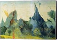 Framed Garden of Eden, detail from the right panel of The Garden of Earthly Delights, c.1500