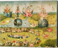 Framed Garden of Earthly Delights: Allegory of Luxury, horizontal central panel of triptych, c.1500