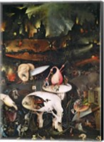Framed Garden of Earthly Delights, Hell, right wing of triptych, c.1500