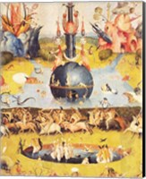 Framed Garden of Earthly Delights: Allegory of Luxury (yellow center panel detail)