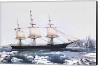 Framed Clipper Ship Red Jacket in the ice off Cape Horn on her passage from Australia to Liverpool
