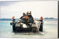 Framed Army soldiers on a military tank in the sea, M551 Sheridan