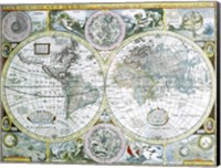 Framed Close-up of a world map, John Speed, 1626