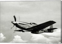 Framed Low angle view of a military airplane in flight, F-51 Mustang