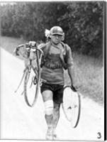 Framed Italian Giusto Cerutti has a broken wheel after a fall. Tour de France 1928