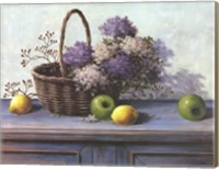 Framed Basket of Purple Flowers