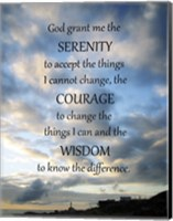 Framed Serenity Prayer - skies