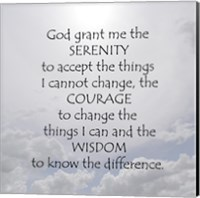 Framed Serenity Prayer - clouds