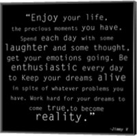 Framed Enjoy Life, Jimmy V Quote