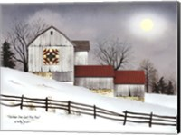 Framed Christmas Star Quilt Block Barn