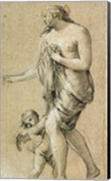 Framed Study of a Female Figure with a Putto
