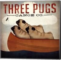 Framed Three Pugs in a Canoe v