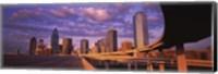 Framed Dallas Skyscrapers ( Purple Sky)