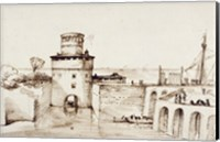 Framed Landscape with a View of a Fortified Port
