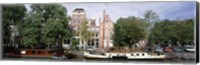 Framed Netherlands, Amsterdam, Boats in canal
