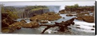 Framed Log on the rocks at the top of the Victoria Falls with Victoria Falls Bridge in the background, Zimbabwe