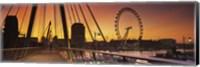 Framed Bridge with ferris wheel, Golden Jubilee Bridge, Thames River, Millennium Wheel, City Of Westminster, London, England