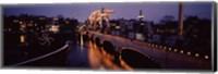 Framed Bridge lit up at night, Magere Brug, Amsterdam, Netherlands