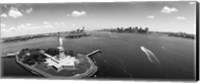 Framed Aerial View of the Statue of Liberty, New York City (black & white)