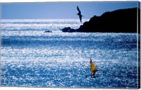 Framed Windsurfer in the sea, Sint Maarten, Netherlands Antilles