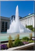 Framed Fountain at the Temple Square, Salt Lake City, Utah, USA