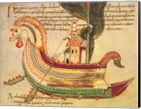 Framed Viking Dragon Ship