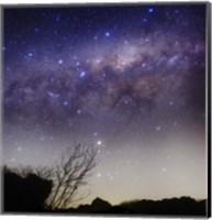 Framed Milky Way above a rural landscape in San Pedro, Argentina