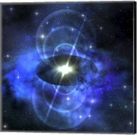 Framed brilliant star sends out magnetic waves out into surrounding space