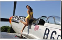Framed Beautiful 1940's style pin-up girl posing with a P-51 Mustang