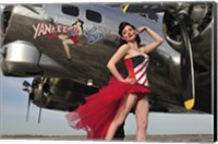 Framed Beautiful 1940's style pin-up girl standing under a B-17 bomber